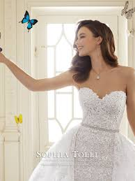 detachable wedding dress straps two lace tulle wedding dress tolli y11652