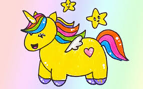 how to draw a rainbow unicorn with wings easy for kid step by