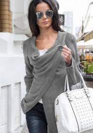 cowl sweater grey plain irregular buttons cowl neck sleeve pullover