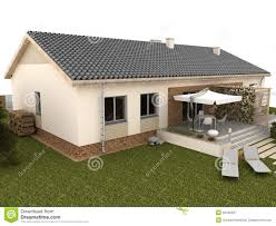 backyard of modern house with terrace stock images image 32440314