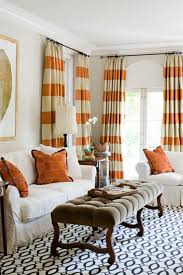 living room retro living room window decor with striped curtains