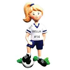 soccer ornaments to personalize personalized christmas ornaments soccer player girl