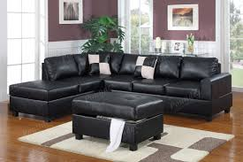 Black Sectional Sofa With Chaise Poundex Black Sectional Leather Sectional Sofa F7355 3 Pcs