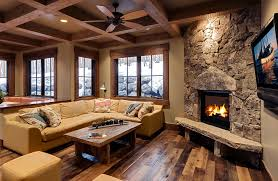 reclaimed barn wood family room rustic with wood beams corner