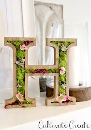 cultivate create wooden spring moss monogram letter