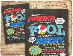 Invitation Card For Pool Party Superhero Pool Party Invitation Superhero Birthday