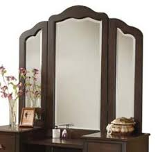 amazon com vanity tri view mirror in walnut finish home u0026 kitchen