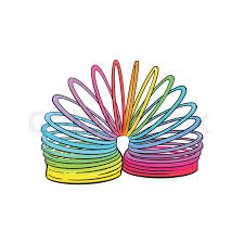rainbow colored plastic spring spiral toy sketch style hand