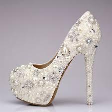 wedding shoes rhinestones shoe rhinestone pearl wedding shoes 2047494 weddbook