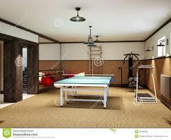 huisgymnastiek in de kelderverdieping met geschiktheidsmateriaal