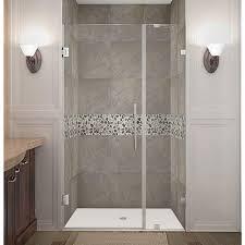 schon mia 40 in x 55 in semi framed hinge tub and shower door in