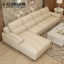 new model l shaped modern italy genuine real leather sectional