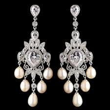 and pearl chandelier earrings rhodium cz freshwater pearl chandelier earrings 4703