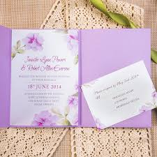 purple wedding invitation kits exquisite watercolor flower lace pocket wedding invitation kits