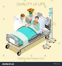 medical visit sick patient bed medical stock vector 369858476