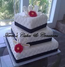 black red white buttercream flowers fondant ribbon square wedding