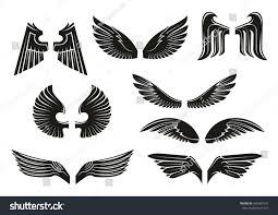 black heraldic wings set tribal style stock vector 455841931
