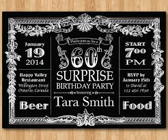 60th birthday invitation chalkboard surprise birthday men