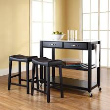 altra furniture williams black kitchen cart with pine top