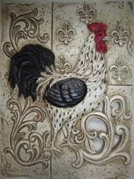 king of the barnyard rooster decorative plate set pintura