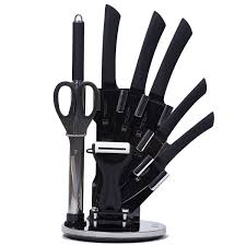 9pc stainless steel soft touch ergonomic knife set stand shop