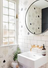 wallpaper designs for bathrooms brass wall mount bath faucet with pedestal sink contemporary