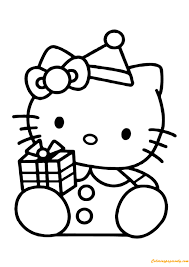 Hello Kitty With Gift Box Coloring Page Free Coloring Pages Online Box Coloring Pages