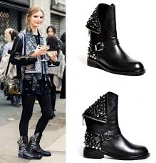 womens motorcycle style boots womens celeb style black genuine leather punk gothic emo ankle