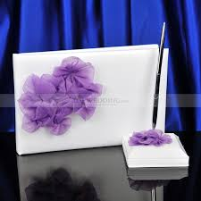 purple guest book satin wedding guest book and pen set with light purple flower