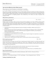 Skill Resume Example Plain Accounts Receivable Resume Templates With Objective Summary