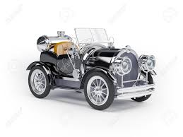1910 black retro car on a white background in steampunk style