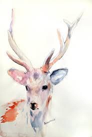 deer original watercolor painting unusual present unique gift