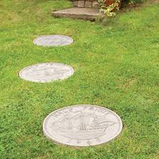half penny autumn brown stepping stone stone garden paths and
