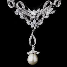 bridal pearl necklace sets images Dazzling vintage cz pearl wedding necklace set elegant bridal jpg