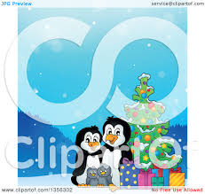 clipart of a cartoon happy penguin family with gifts by a