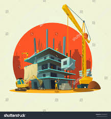 construction concept retro style concept workers stock vector