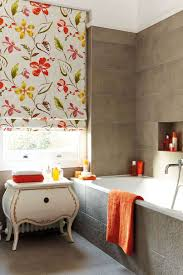 Modern Bathroom Windows Modern Bathroom Using Floral Shades For The Windows And