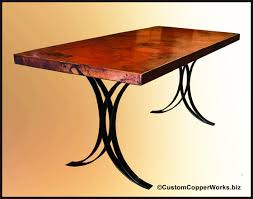 Mexican Dining Room Furniture Rectangular Copper Dining Room Table Forged Iron Table Base 1
