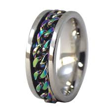 mens spinner rings stainless steel rainbow chain worry spinner ring