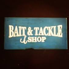 wooden painted bait tackle shop sign by mycharmersmarket on etsy