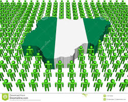Nigerian Flag Nigeria Map Flag Surrounded By Many Peopl Stock Illustration
