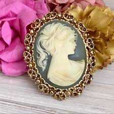 antique gold cameo necklace images Vintage jewelry 1960s blue gold cameo brooch signed bj poshmark jpg