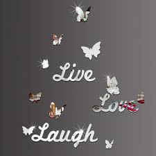 diy mirror stickers butterfly live love laugh wall sticker home see larger image