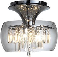 Contemporary Flush Ceiling Lights Dar Loco Modern 6 Light Chrome And Glass Flush Fitting Loc508