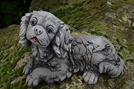 small king charles puppy cast garden ornament statue