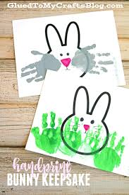 handprint bunny keepsakes w free printable template crafts