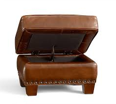 irving leather storage ottoman with nailheads pottery barn