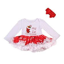 Amazoncom Baby Girl Christmas Dress My First Christmas Romper Tutu