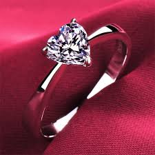heart style rings images Top quality 1ct simple style heart shape simulate diamond female jpg