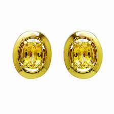 gold earrings studs yellow sapphire and gold earring studs kaufmann de suisse